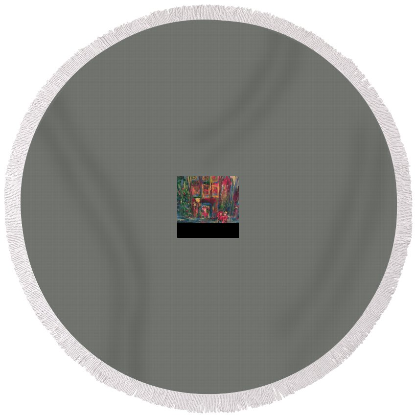 Round Beach Towel featuring the painting Christmas In Colors by Bethany Hannigan