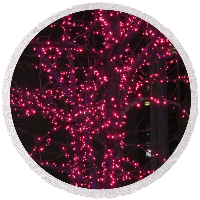 Abstract Round Beach Towel featuring the photograph Christmas Lights 6th Ave 4 Abstract by Ken Lerner