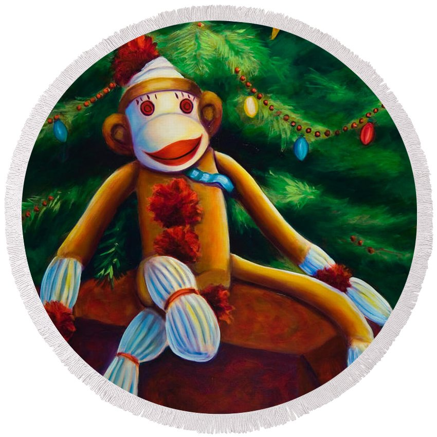 Sock Monkey Round Beach Towel featuring the painting Christmas Made Of Sockies by Shannon Grissom