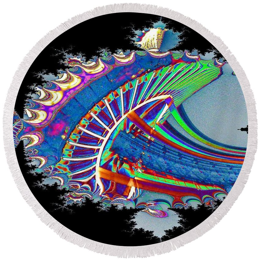 Seattle Round Beach Towel featuring the digital art Christmas Needle In Fractal by Tim Allen