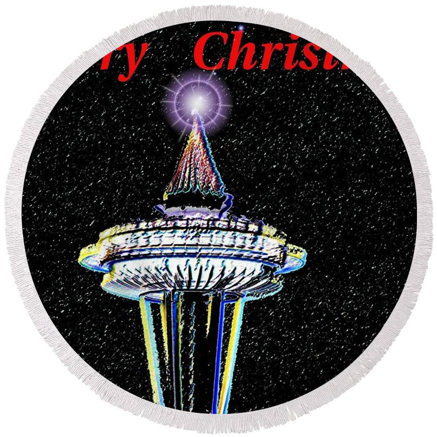 Seattle Round Beach Towel featuring the photograph Christmas Needle by Tim Allen