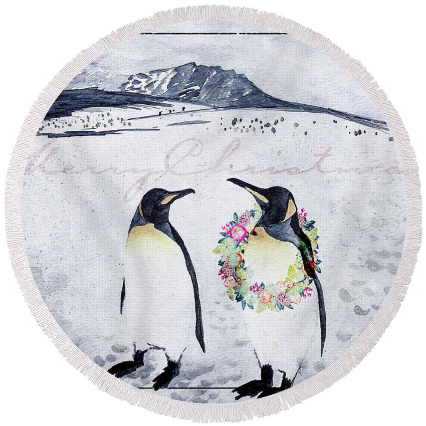 Nancy Forehand Round Beach Towel featuring the painting Christmas Penguins by Nancy Forehand
