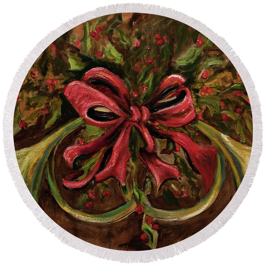 Christmas Round Beach Towel featuring the painting Christmas Red Ribbon by Jodi Monahan