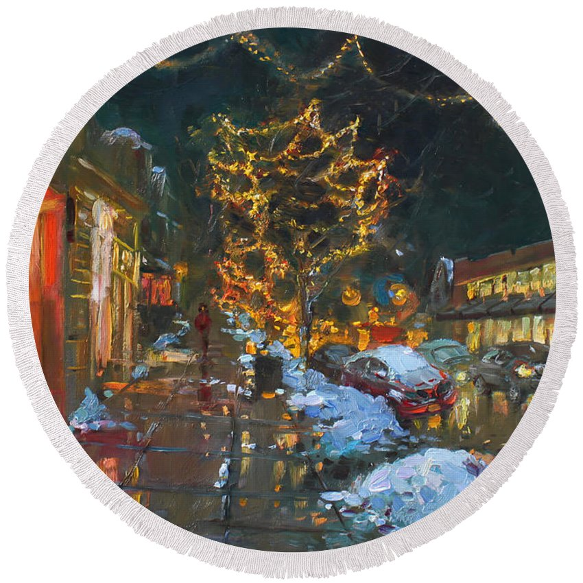 Christmas Lights Round Beach Towel featuring the painting Christmas Reflections by Ylli Haruni