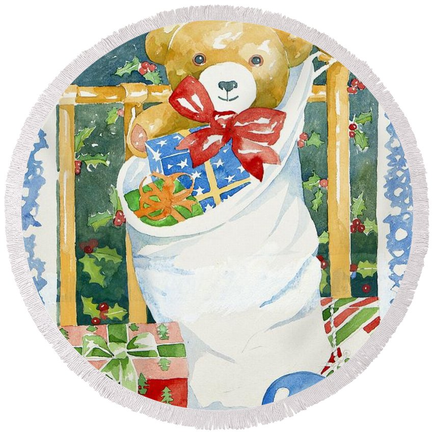 Teddy Round Beach Towel featuring the painting Christmas Stocking by Jennifer Abbot