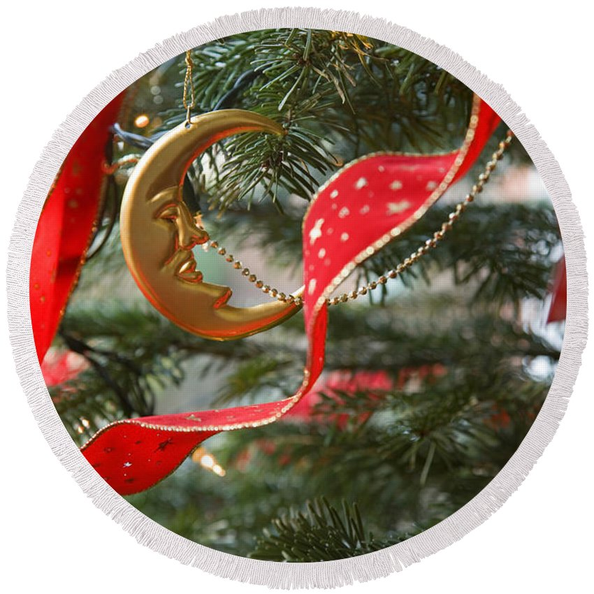 Christmas Round Beach Towel featuring the photograph Christmas Tree Decorations by Mal Bray