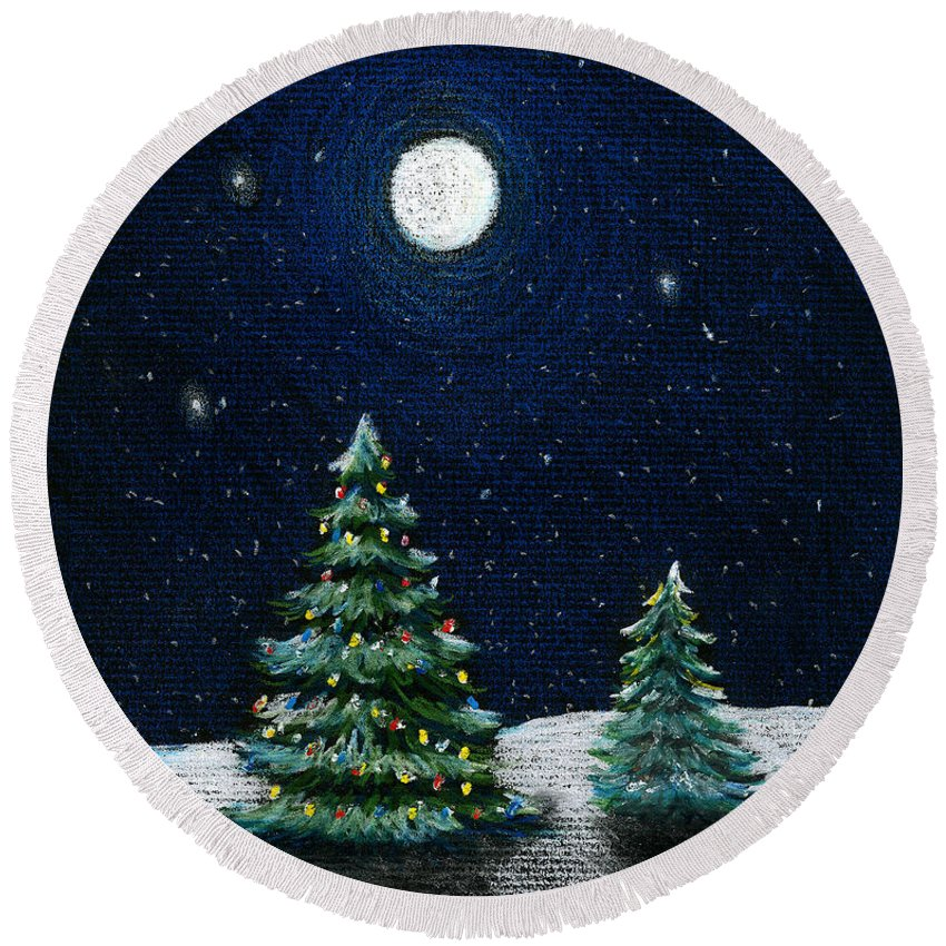 Christmas Trees Round Beach Towel featuring the drawing Christmas Trees In The Moonlight by Nancy Mueller