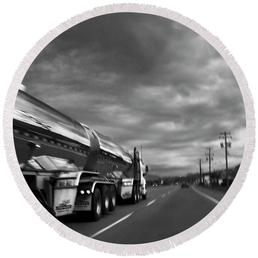 Man Round Beach Towel featuring the photograph Chrome Tanker by Theresa Tahara