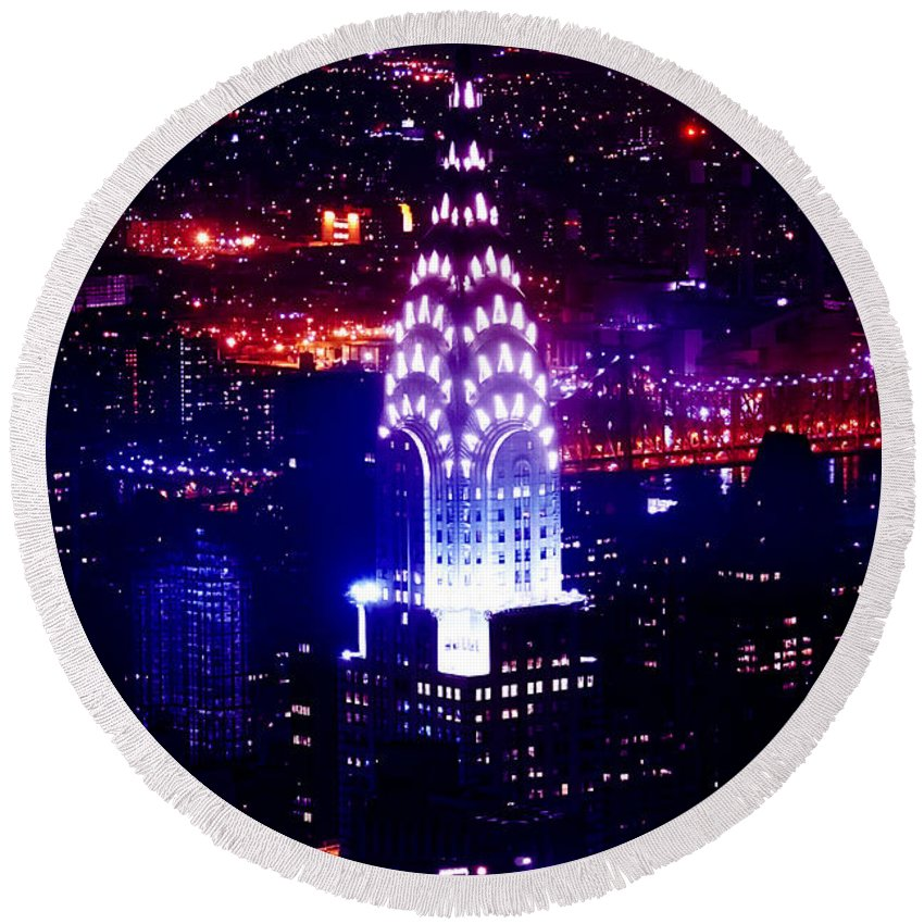New York City Round Beach Towel featuring the photograph Chrysler Building At Night by Az Jackson