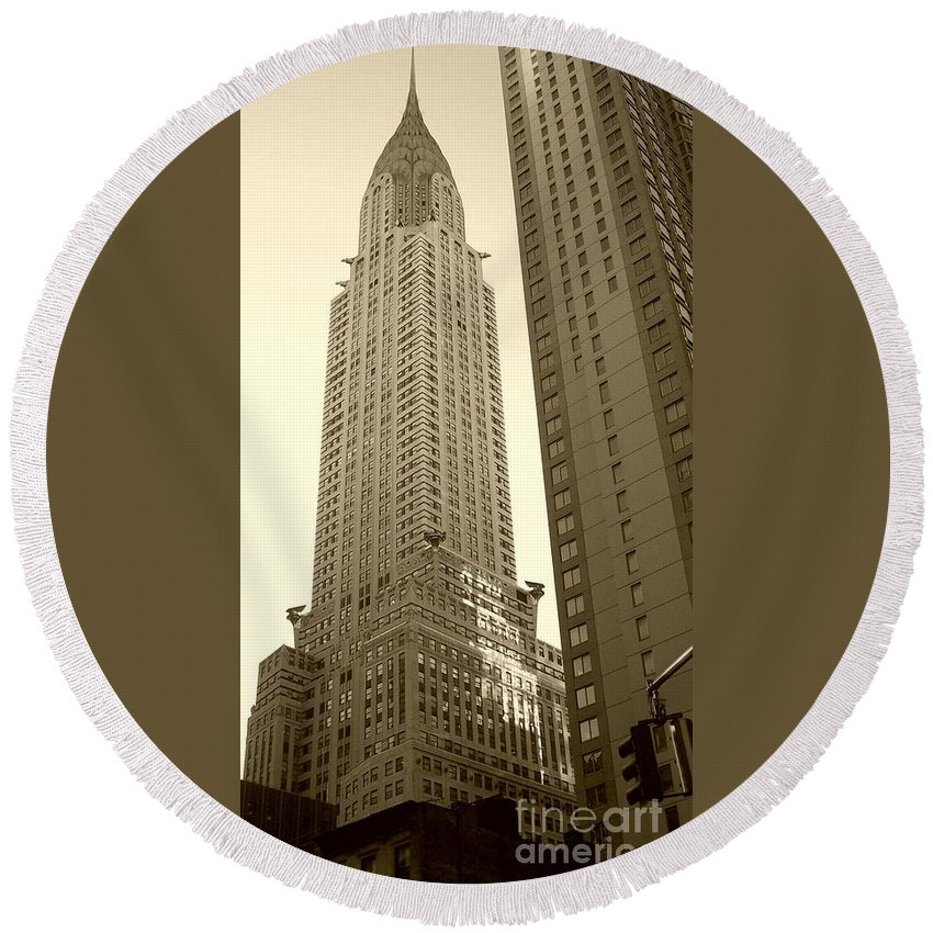 New York Round Beach Towel featuring the photograph Chrysler Building by Debbi Granruth