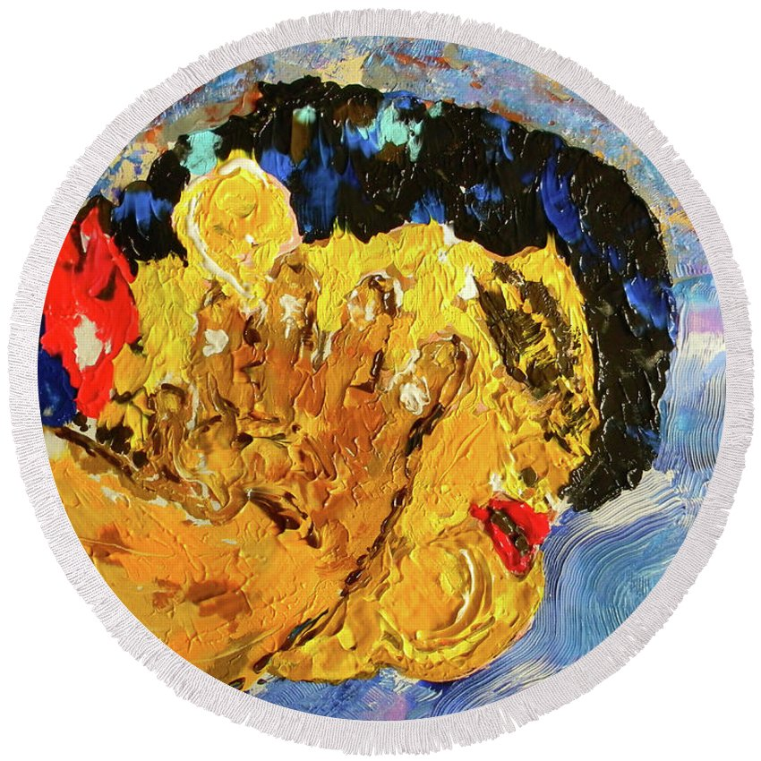 Marwan George Khoury Round Beach Towel featuring the painting Chubby In Dreamland by Marwan George Khoury