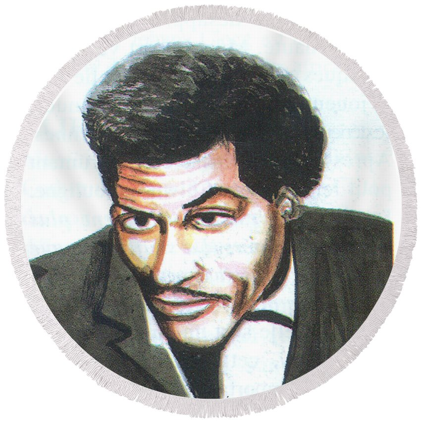 Music Round Beach Towel featuring the painting Chuck Berry 45 by Emmanuel Baliyanga