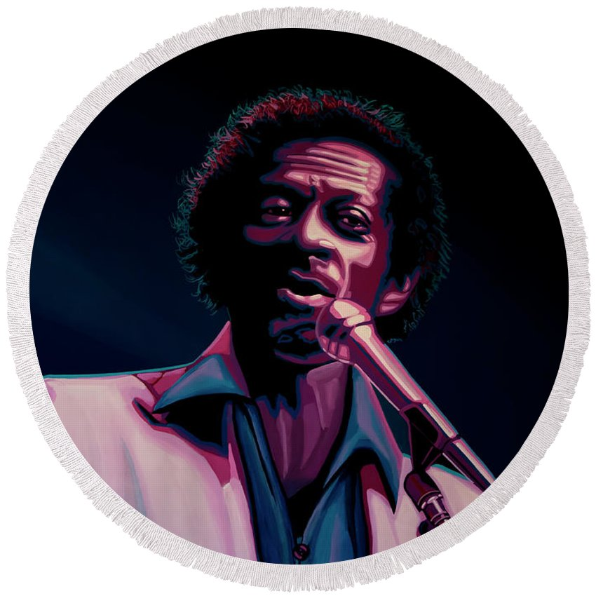 Chuck Berry Round Beach Towel featuring the painting Chuck Berry by Paul Meijering