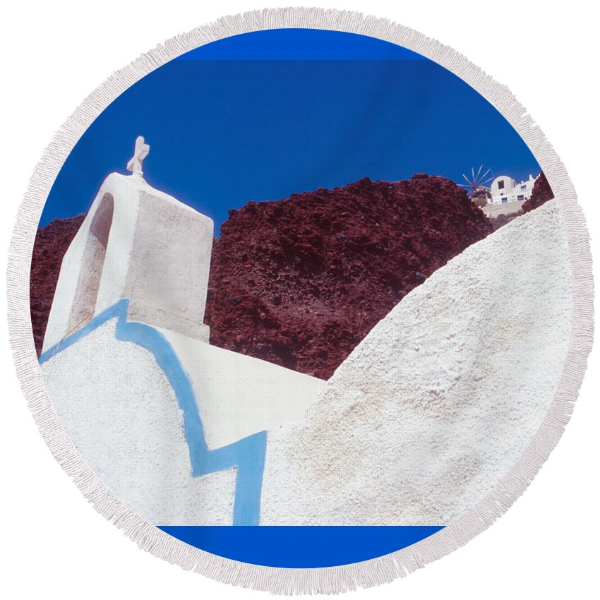 Greece Round Beach Towel featuring the photograph Church And Windmill In Santorini Greece by Yuri Lev