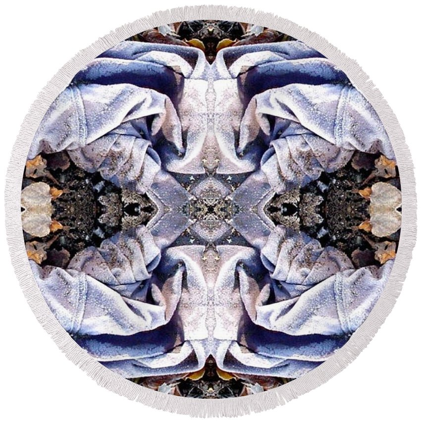 Abstract Round Beach Towel featuring the digital art Church Clothing by Ron Bissett