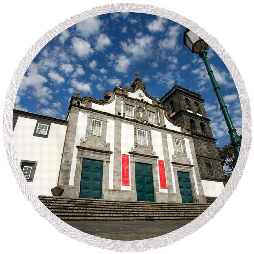Catholic Round Beach Towel featuring the photograph Church In Ribeira Grande by Gaspar Avila