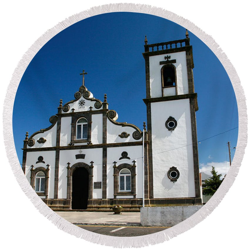 Sao Miguel Round Beach Towel featuring the photograph Church In The Azores by Gaspar Avila
