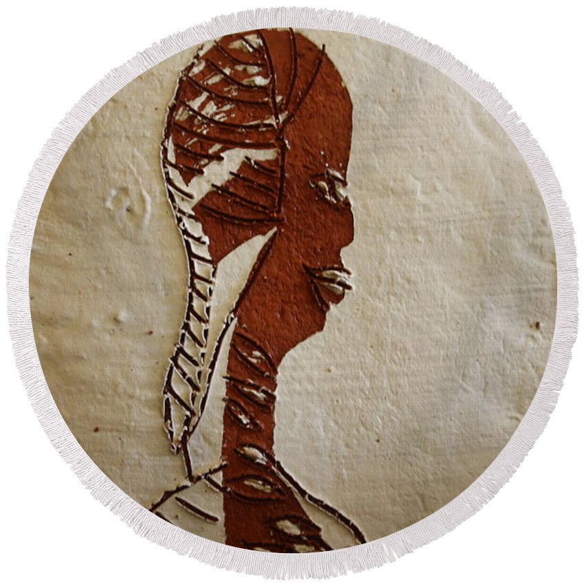 Jesus Round Beach Towel featuring the ceramic art Church Lady 11 - Tile by Gloria Ssali