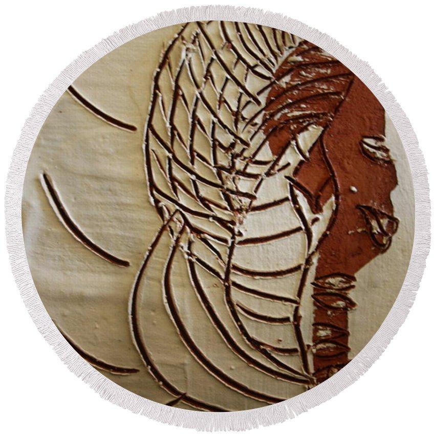 Jesus Round Beach Towel featuring the ceramic art Church Lady 4 - Tile by Gloria Ssali