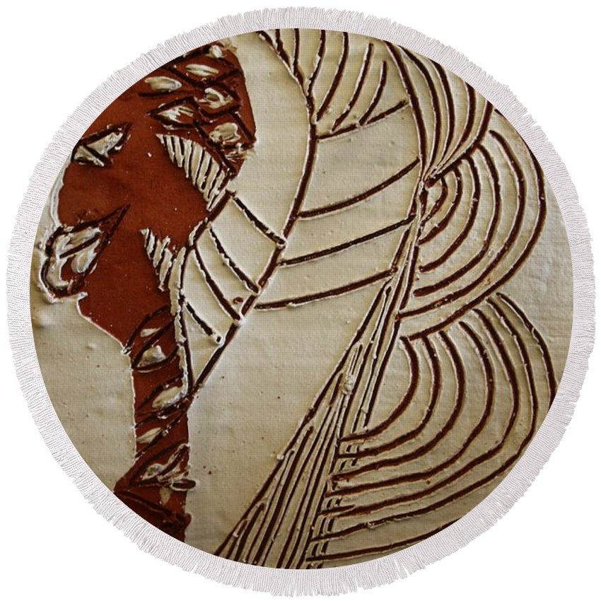 Jesus Round Beach Towel featuring the ceramic art Church Lady 6 - Tile by Gloria Ssali