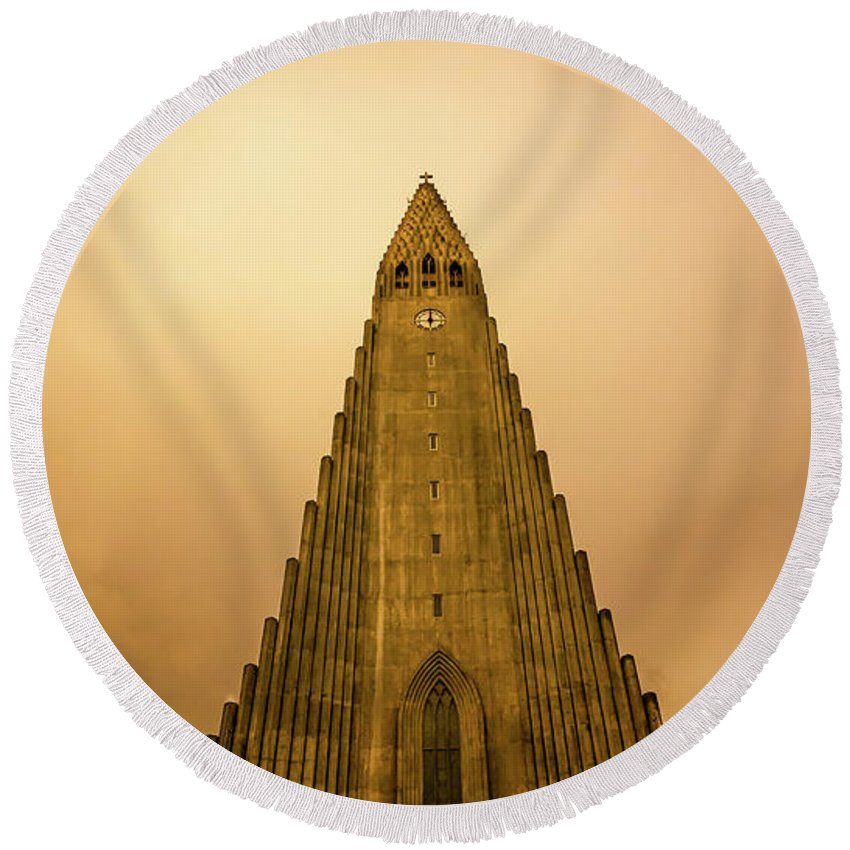 Iceland Round Beach Towel featuring the photograph Church Of Fire by Bob McCormac