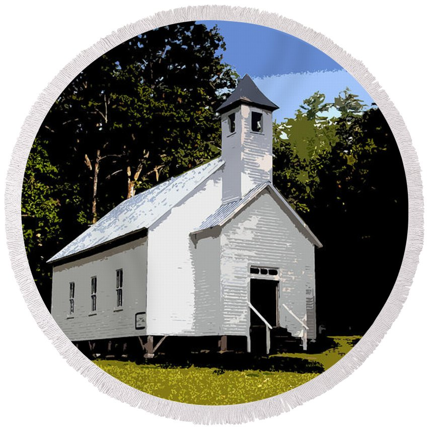 Baptist Church Round Beach Towel featuring the painting Church Of The Baptist by David Lee Thompson