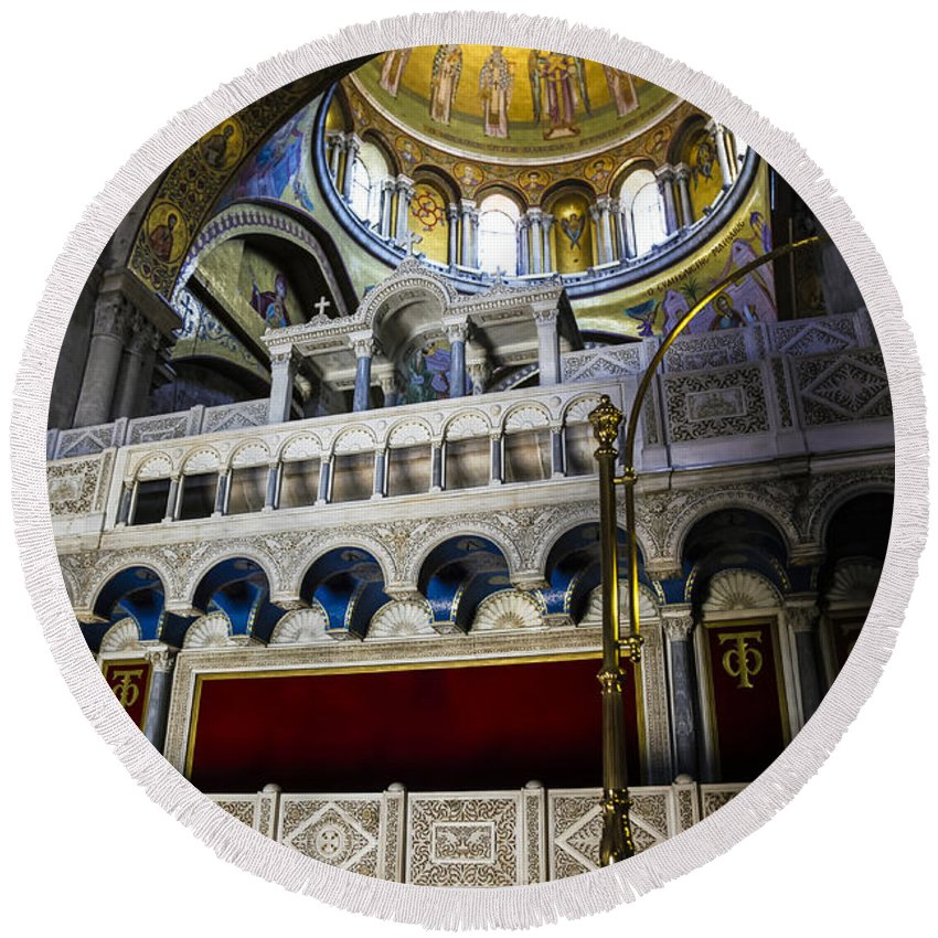 Church Round Beach Towel featuring the photograph Church Of The Holy Sepulchre Interior by Kenneth Lempert