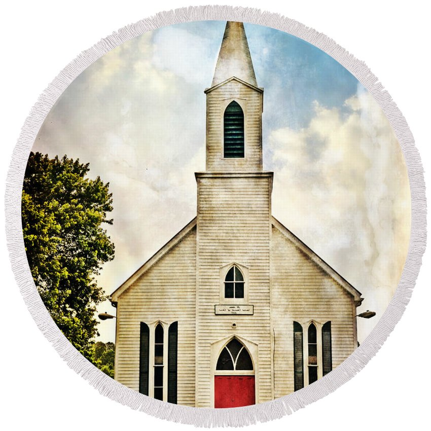 Church Round Beach Towel featuring the photograph Church On 8 by Marty Koch