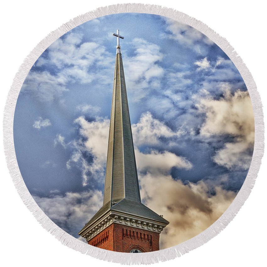 Timothy Flanigan Round Beach Towel featuring the photograph Church Steeple by Timothy Flanigan