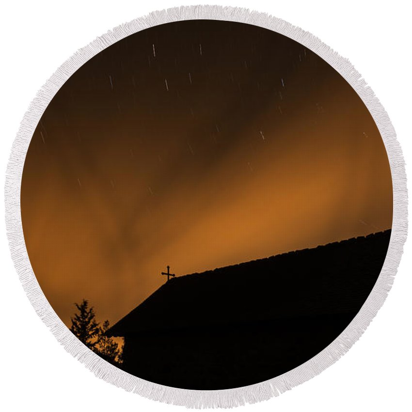 Stars Round Beach Towel featuring the photograph Church Under The Stars by Michalakis Ppalis