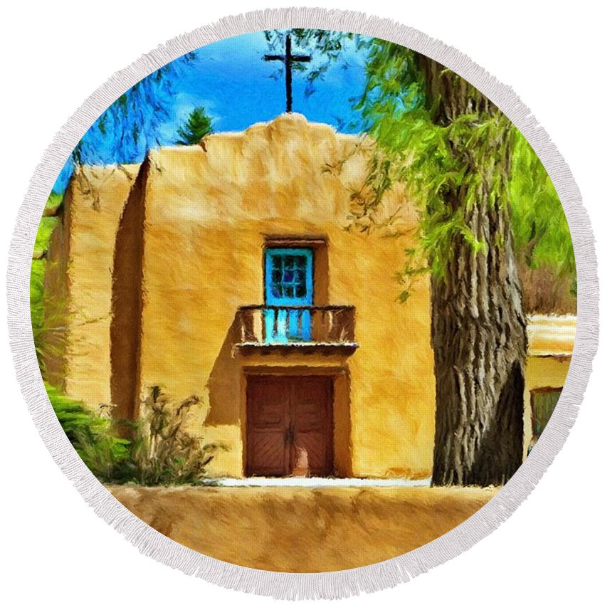 Chapel Round Beach Towel featuring the painting Church With Blue Door by Jeffrey Kolker
