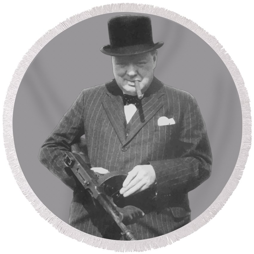 Winston Churchill Round Beach Towel featuring the painting Churchill Posing With A Tommy Gun by War Is Hell Store