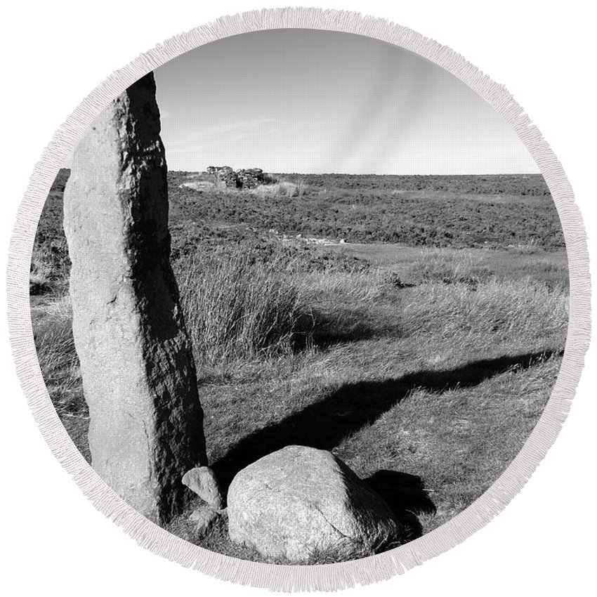 Standing Stone Round Beach Towel featuring the photograph Churn Milk Joan by Philip Openshaw