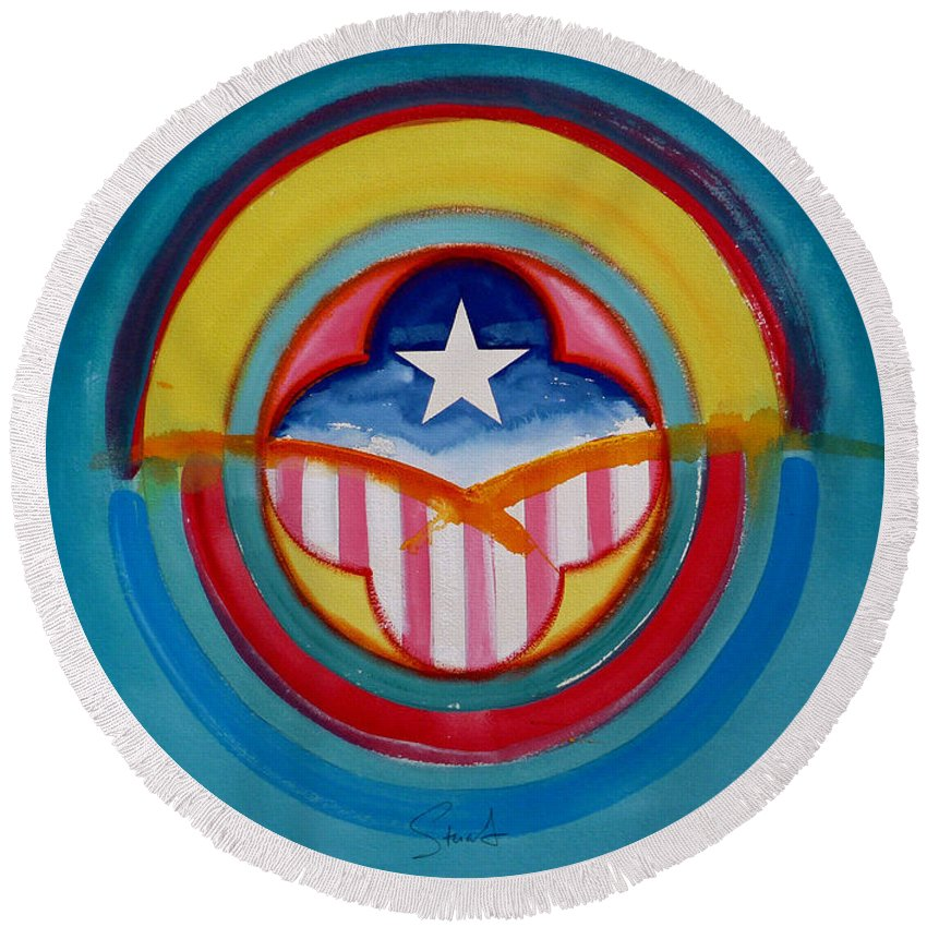 Button Round Beach Towel featuring the painting CIA by Charles Stuart
