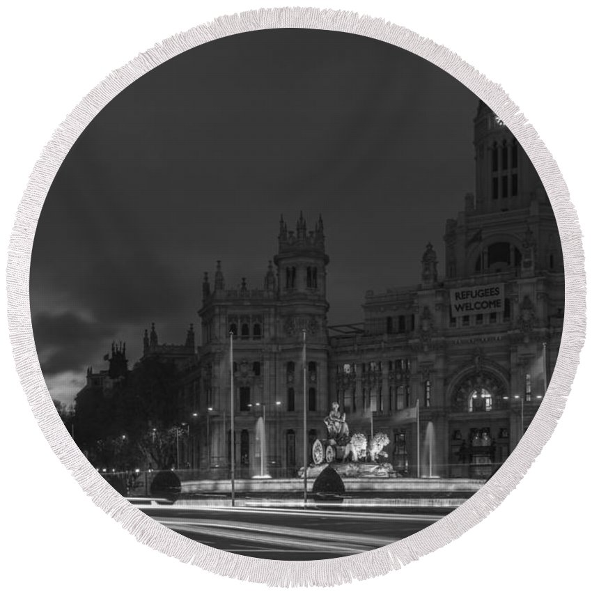 Spain Round Beach Towel featuring the photograph Cibeles Square Madrid Spain by Pablo Avanzini