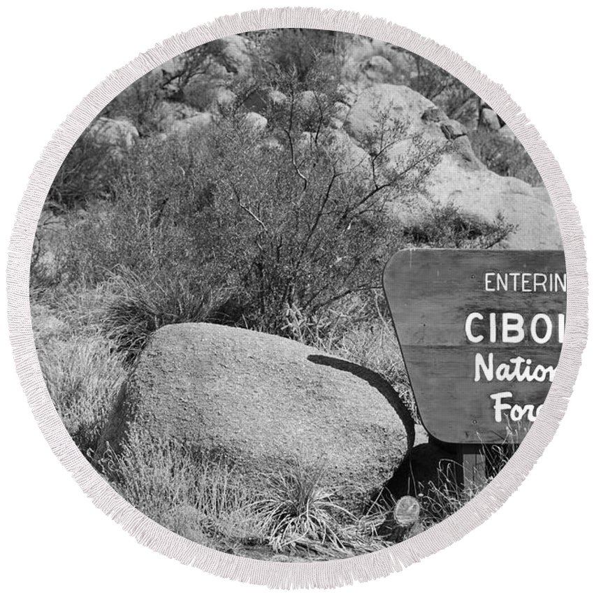Black And White Round Beach Towel featuring the photograph Cibola National Forest by Rob Hans