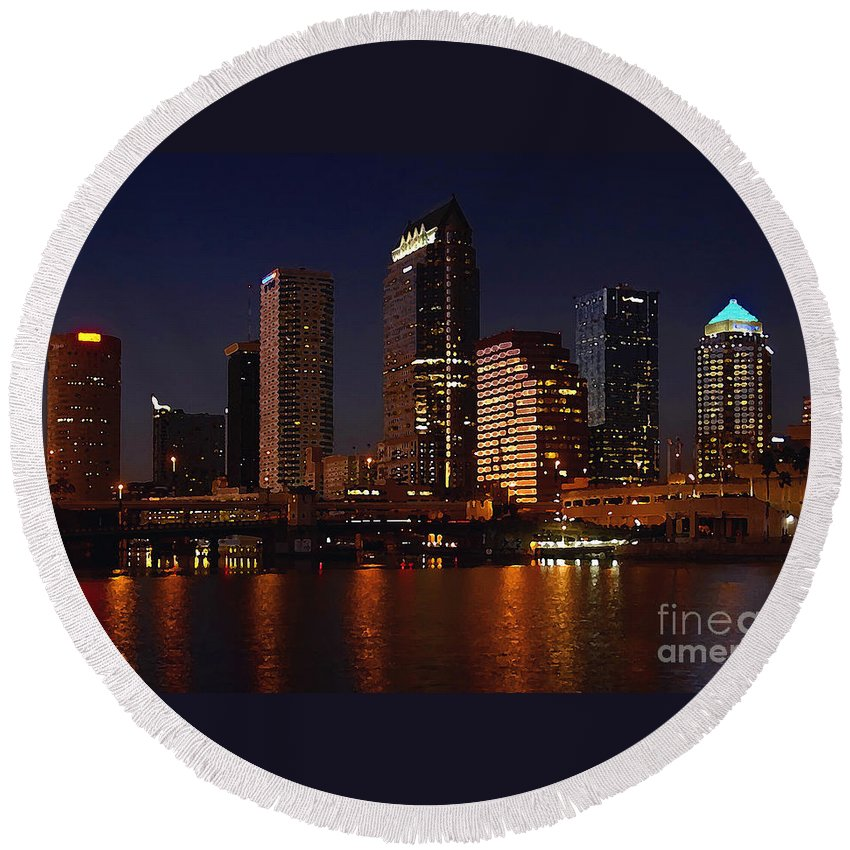 Tampa Florida Round Beach Towel featuring the photograph Cigar City by David Lee Thompson