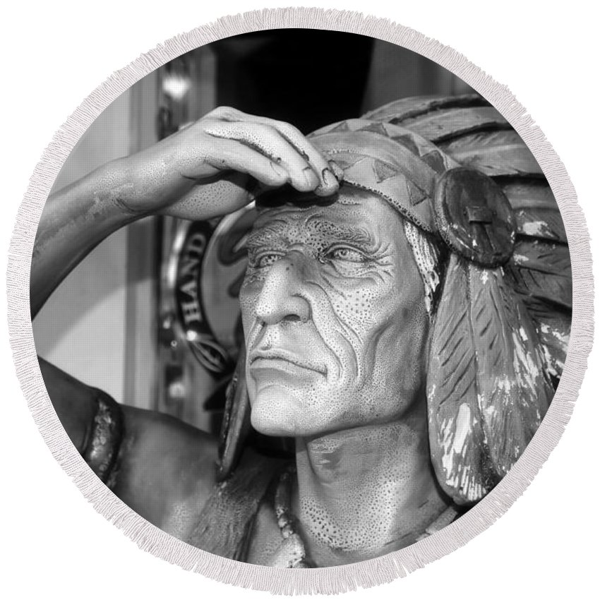 Cigar Indian Round Beach Towel featuring the photograph Cigar City Indian by David Lee Thompson