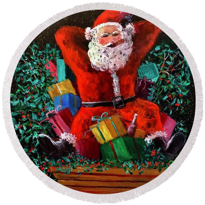 Christmas Round Beach Towel featuring the painting Cigar Santa by Randy Burns