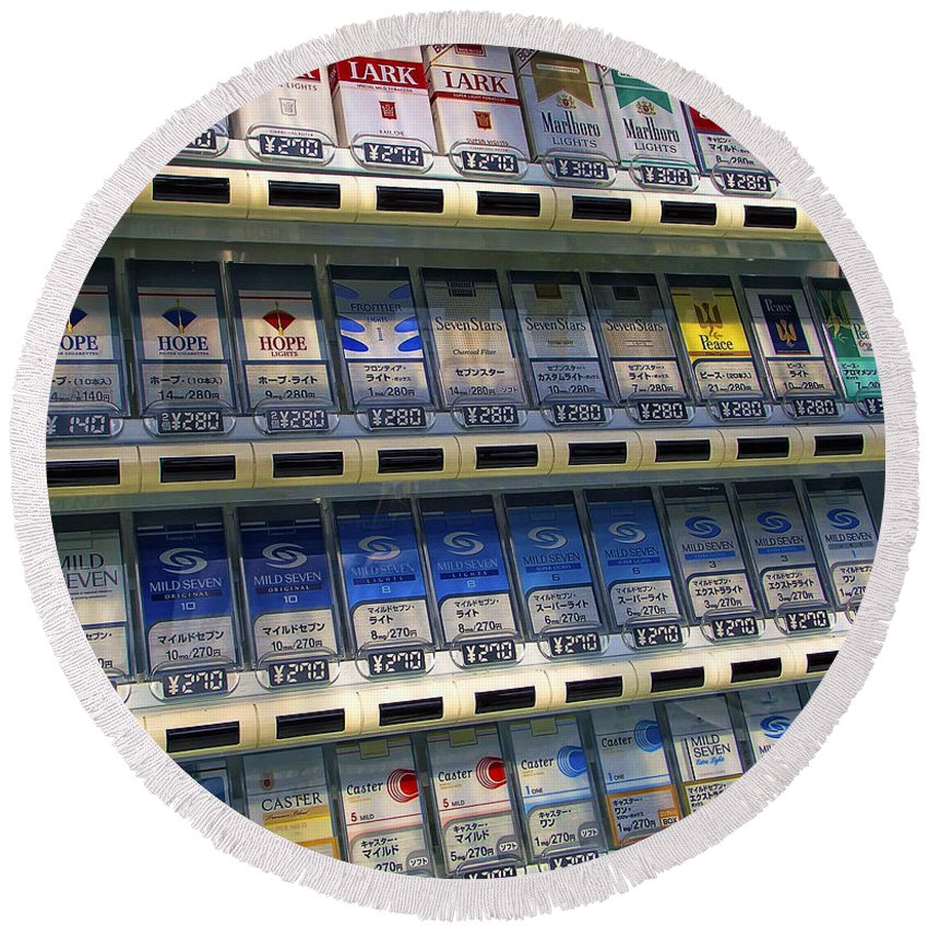 Cigarettes Round Beach Towel featuring the photograph Cigarette Vending Machine In Japan by Daniel Hagerman