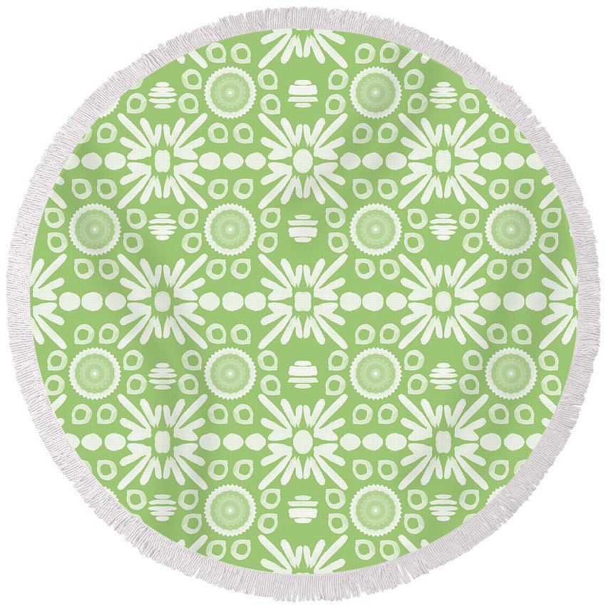 Floral Design Mixed Media Round Beach Towels