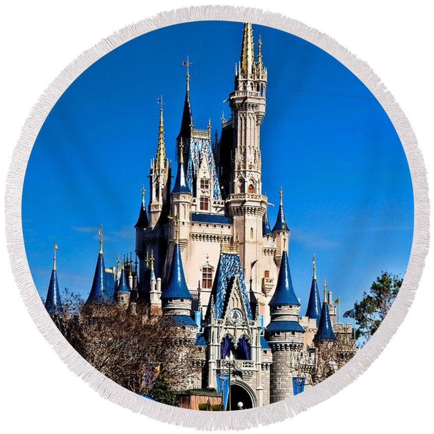 Cinderella Castle Round Beach Towel featuring the photograph Cinderella Castle by Tommy Anderson