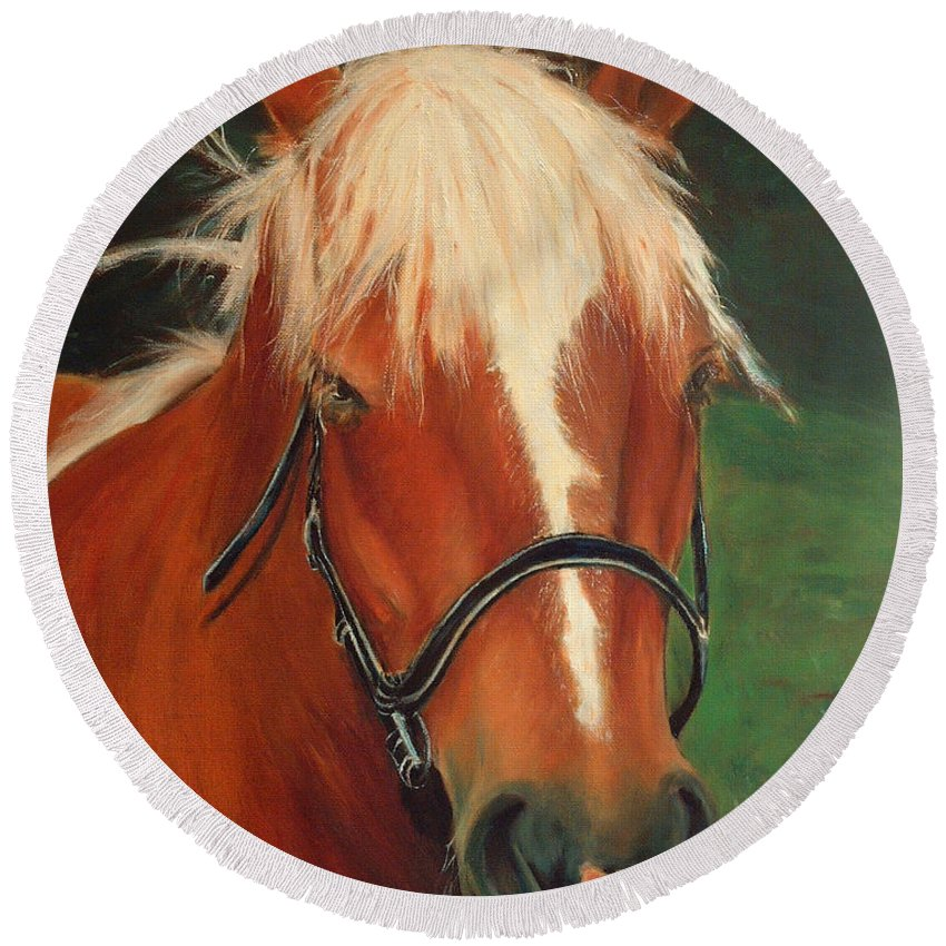 Euqestrian Art Round Beach Towel featuring the painting Cinnamon The Horse by Portraits By NC