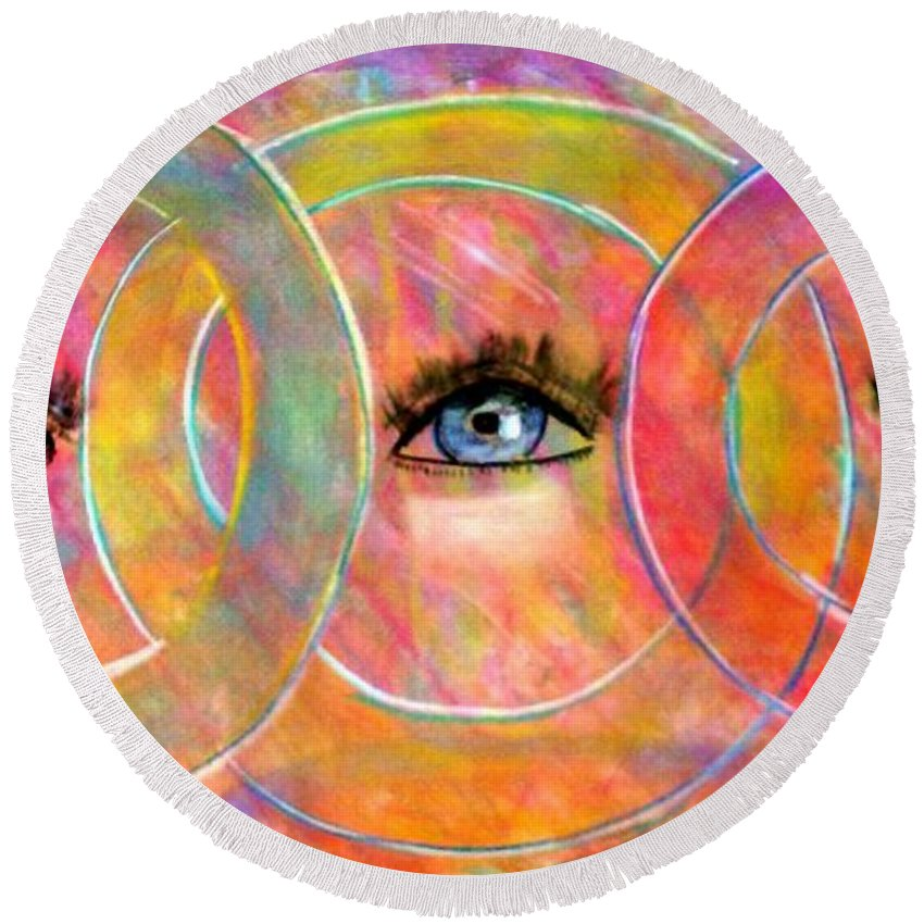 Abstract Round Beach Towel featuring the pastel Circle Of Eyes by Melvin Moon