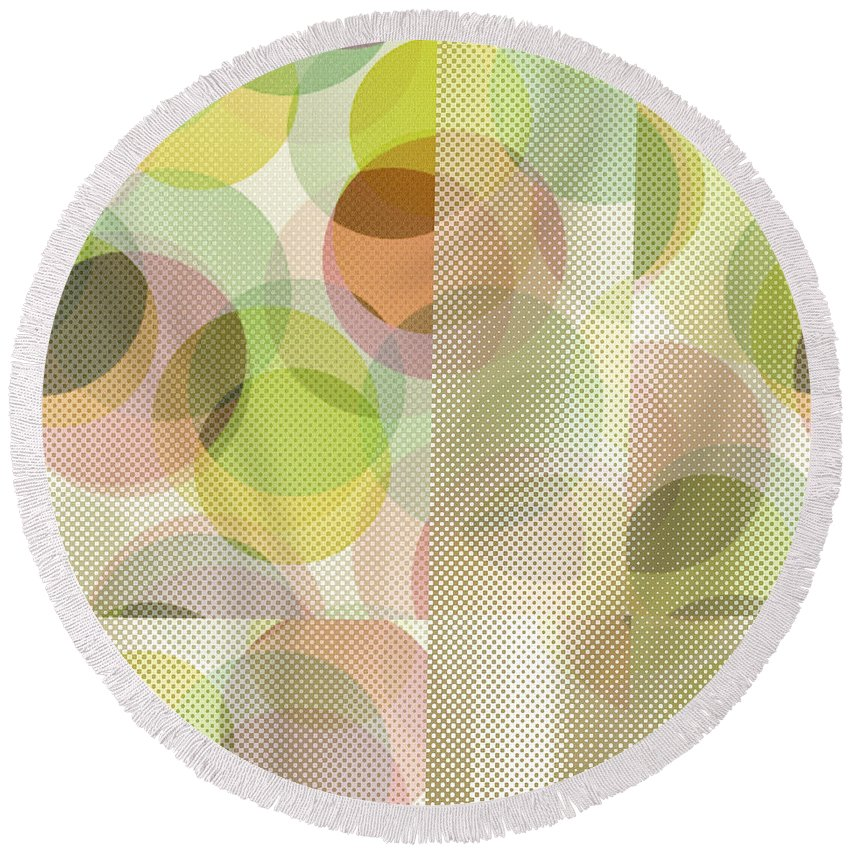 Abstract Round Beach Towel featuring the digital art Circle Pattern Overlay II by Ruth Palmer