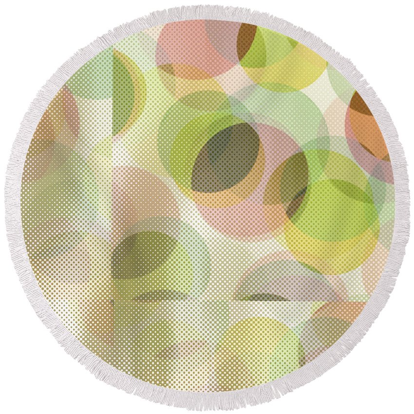 Abstract Round Beach Towel featuring the digital art Circle Pattern Overlay by Ruth Palmer