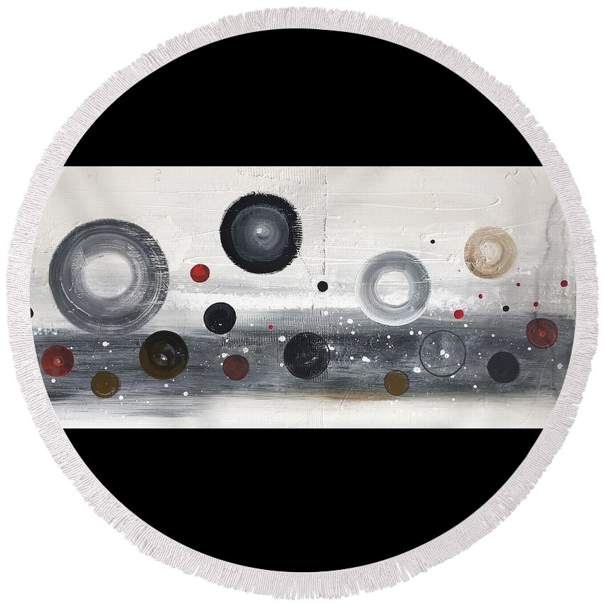 Abstract Round Beach Towel featuring the painting Circles And Cycles by Germaine Fine Art