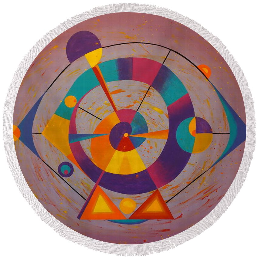 Abstract Painting Round Beach Towel featuring the painting Circles In Space by Ron Snyder