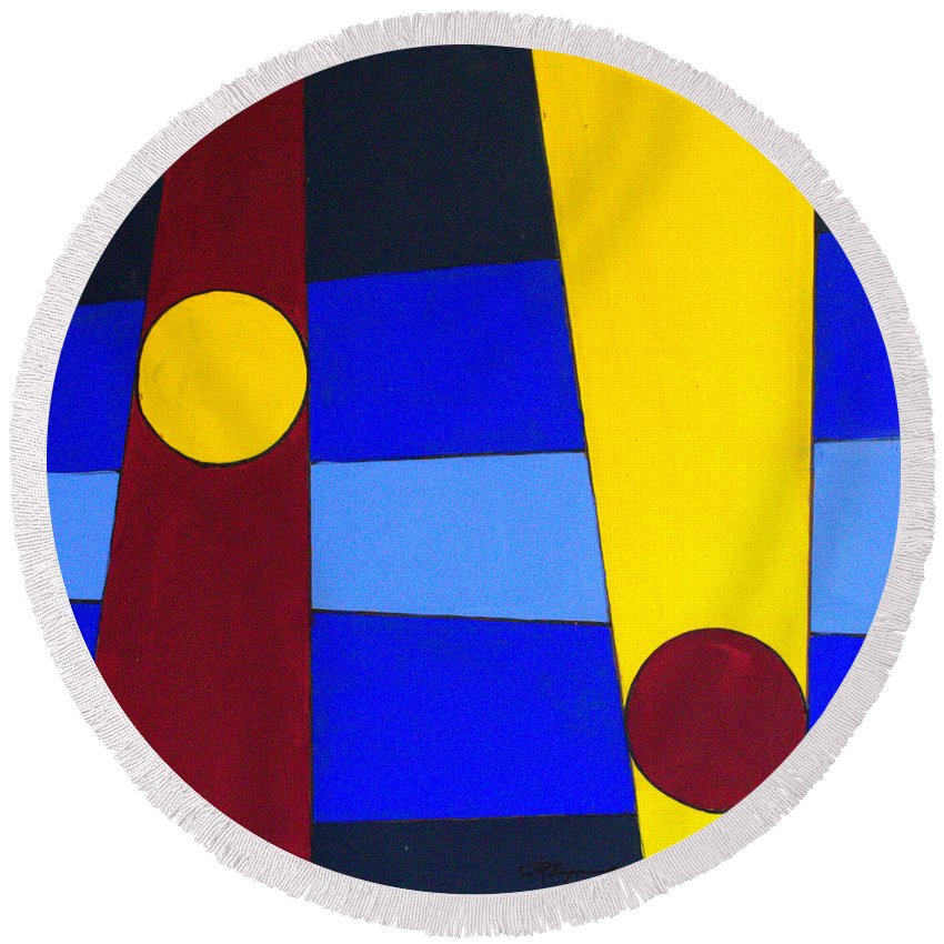 Abstract Round Beach Towel featuring the painting Circles Lines Color by J R Seymour