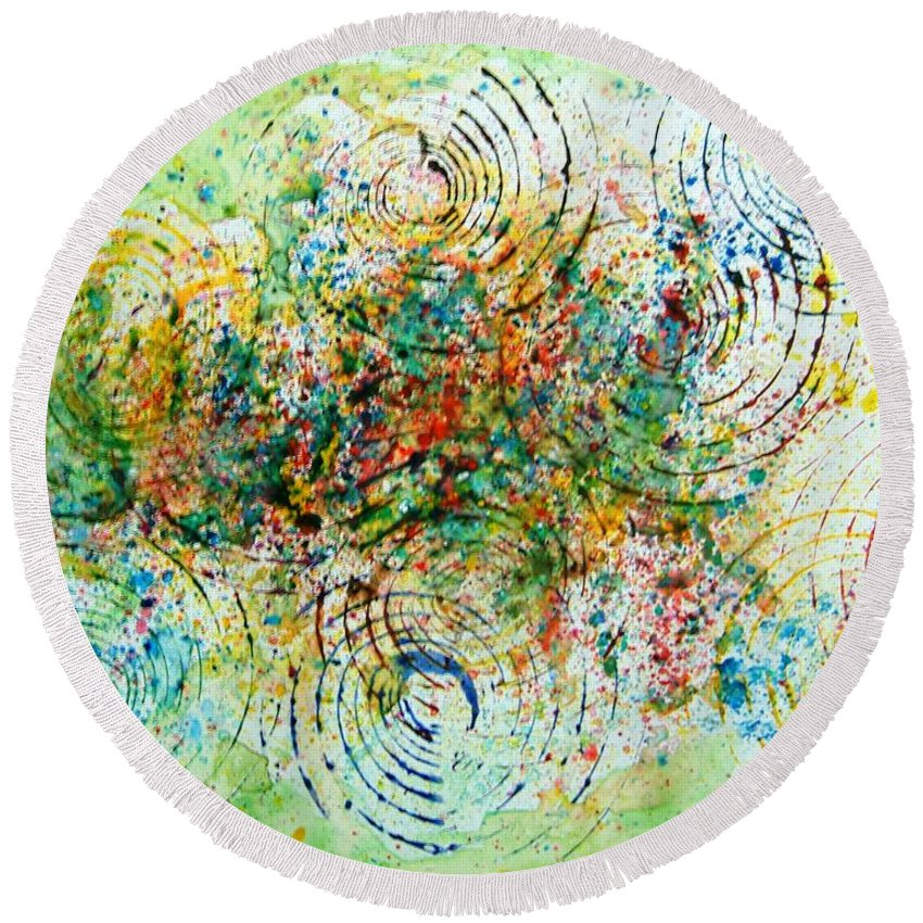 Abstract Yupo Paper Circles Green Red Yellow Blue Modern Pop Unique Landscape Round Beach Towel featuring the photograph Circles Of Life by Manjiri Kanvinde